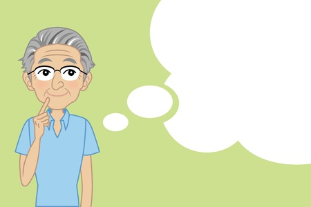 think positive: Senior male thinking with Speech bubble