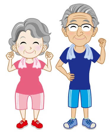 senior exercise: Senior couple  Wearing short sleeves Sportswear