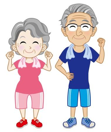 �ltere menschen: Senior Paar Tragen von kurzen �rmeln Sportswear Illustration
