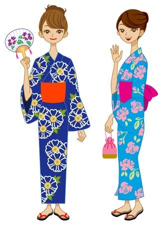 kimono: Dos ni�as Yukata Vectores