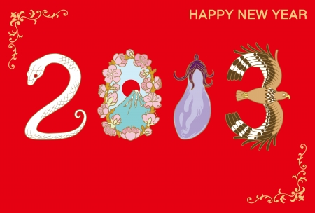new year s card: Japanese  New Year s card 2013,Good omen Items in Japanese new year