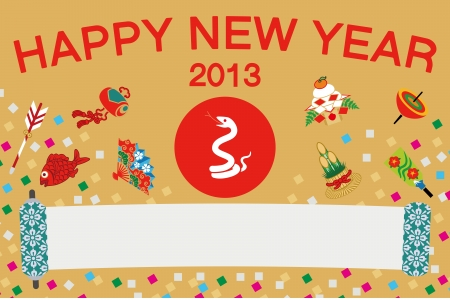 Japanese  New Year s card 2013, Happy snake Vector