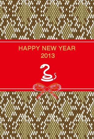 year        s: Capodanno s card 2013, White Snake e pattern python