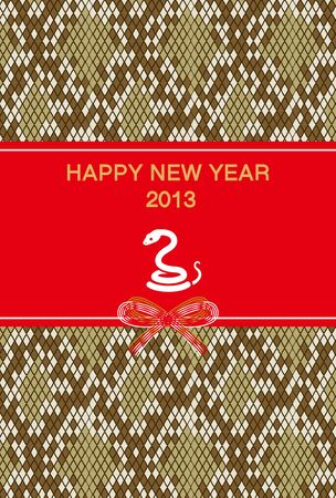 New Year s card 2013,White Snake and python pattern