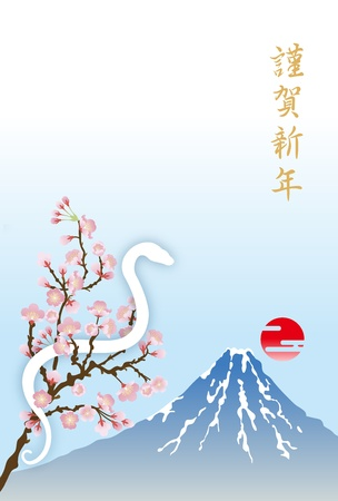 Japanese  New Year s card 2013, White Snake and Mt Fuji Stock Vector - 14925094