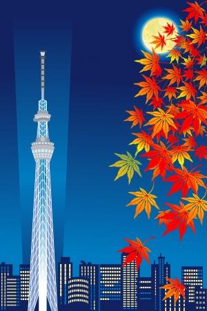 harvest moon: Tokyo Sky Tree in autumn night , Vertical