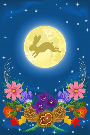 moon night: Harvest moon and autumn flowers