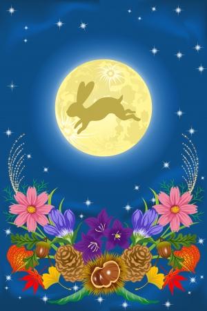 volle maan: Harvest Moon en de herfst bloemen Stock Illustratie