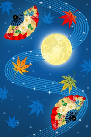 stars night: Full moon and fan ,Japanese traditional image