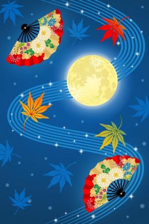 volle maan: Volle maan en ventilator, Japanse traditionele afbeelding