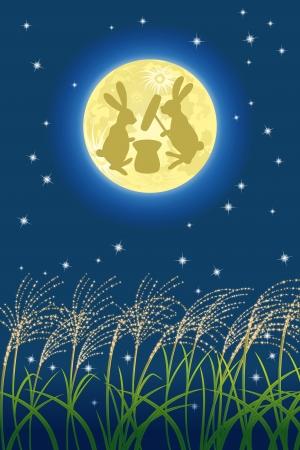 bunny rabbit: Imagen japon�s luna llena Vectores