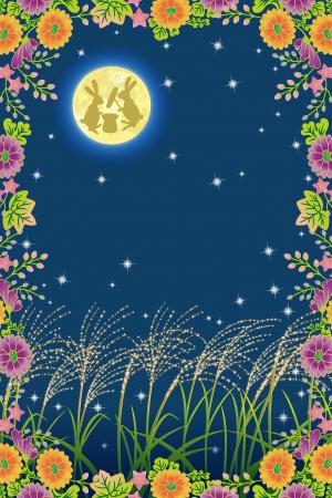 日本語の中秋の名月と秋の花