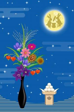 日本語の中秋の名月と装飾  イラスト・ベクター素材