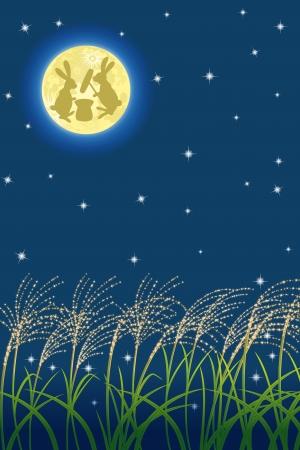 harvest moon: Japanese Harvest moon image Illustration