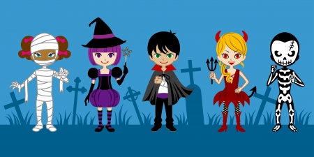 Cute Halloween Monsters,in graveyard  Illustration