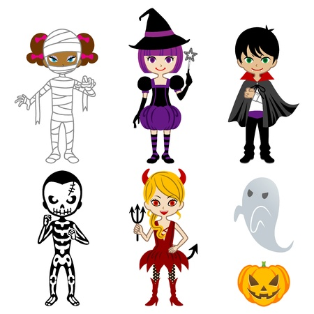 cute halloween: Cute Halloween Monsters,Isolated On White Illustration