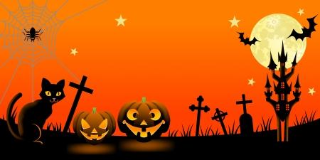 horror castle: Halloween night with black cat