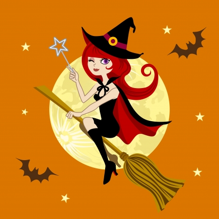 Halloween witch,full moon night Stock Vector - 15250403