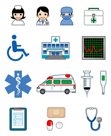 public hospital: medical icon set
