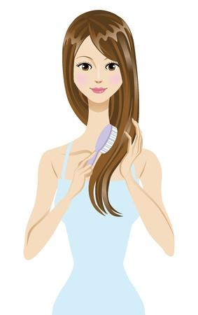 long hair woman: El cepillado del cabello Vectores
