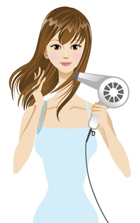 drying: blow drier, Woman drying hair  Illustration
