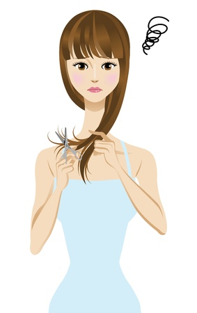 Women suffering from split ends  Ilustração