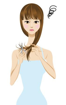 frustration: Women suffering from split ends  Illustration