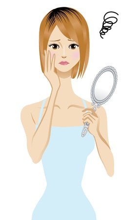 camisole: Women who fail to hair color  Illustration
