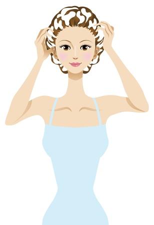 シャンプー、髪のケアの画像の髪を洗う女