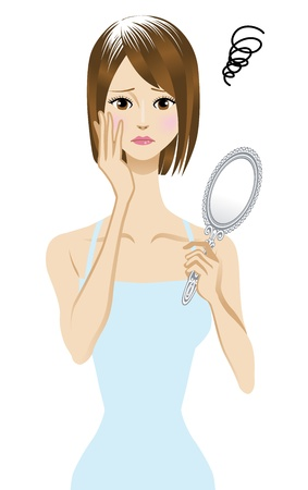 camisole: gray hair  Women suffering from gray hair Illustration