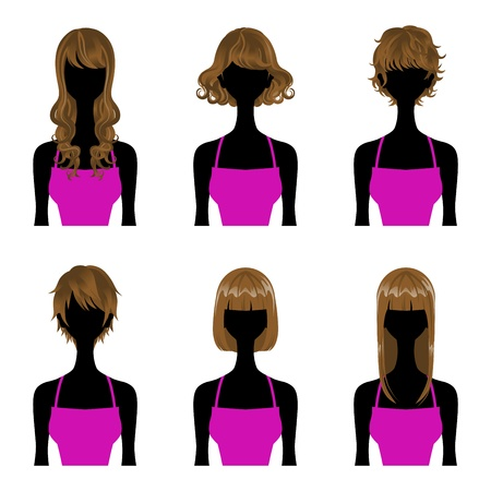 Hairstyle set Perm and Straight Hair,Three types Length  Short,Medium,long hair  Vector