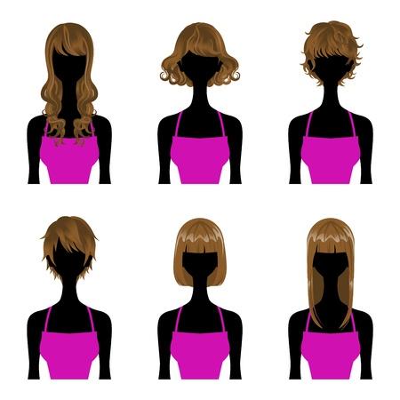 kurz: Hairstyle set Perm und glattes Haar, Drei Arten L�nge kurz, mittel, lange Haare