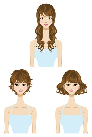 medium length: Perm,hair style set Three types Length  Short,Medium,long hair  Illustration