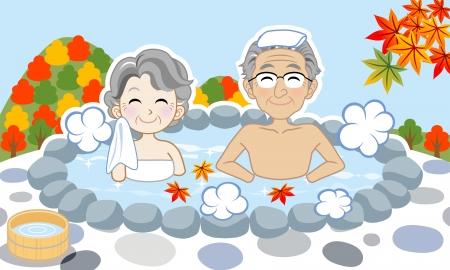 Senior couple enjoy japanese hot spring in autumn