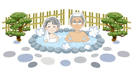 Senior couple enjoy japanese hot spring Stock Vector - 15454949