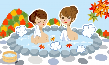 bath tub: Two women enjoy japanese hot spring in autumn  Illustration
