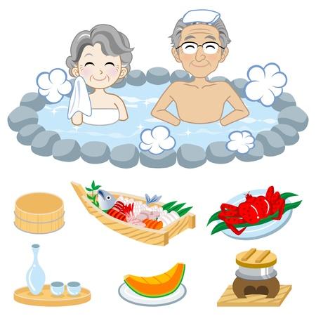 Senior couple who enjoy Japanese hot spring,and Japanese food
