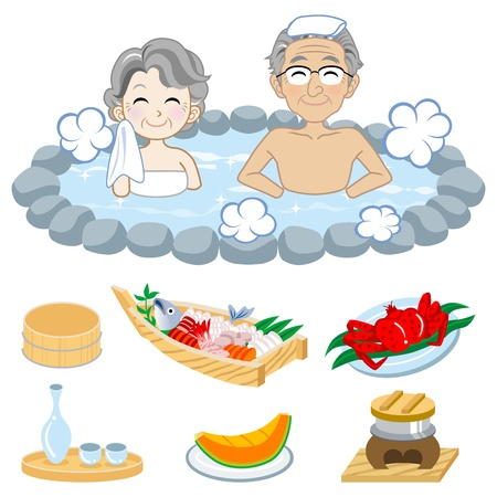 Senior couple who enjoy Japanese hot spring,and Japanese food  Vector
