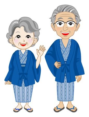 Senior couple  Wearing yukata ,Japanese hot springs wear 일러스트