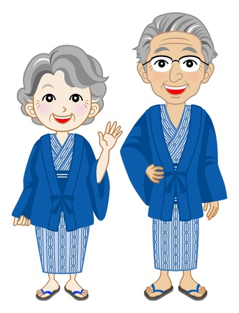 hot couple: Senior couple  Wearing yukata ,Japanese hot springs wear Illustration