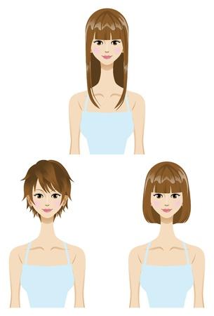 kurz: Glattes Haar, gesetzt Frisur Drei Arten L�nge kurz, mittel, lange Haare Illustration