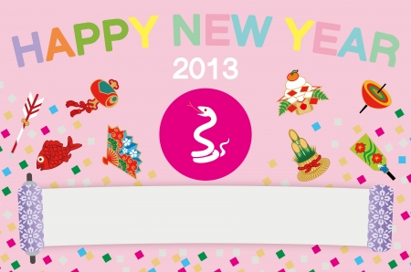 kadomatsu: Japanese New Year s card,Snake and Luck Item,Pink color  Illustration