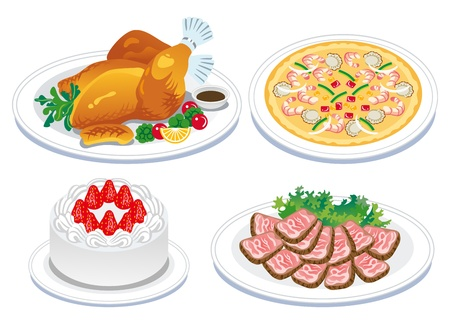 Roast turkey and  delicious food Vector