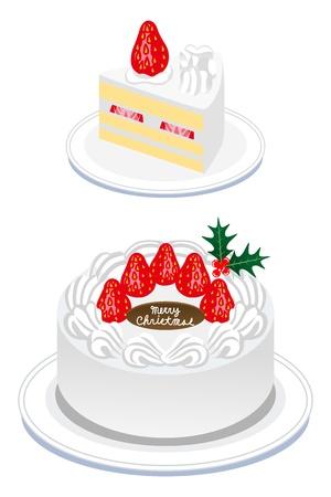 Christmas cake,whole cake and cut cake