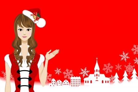 santa girl: Santa girl and Christmas Background Illustration