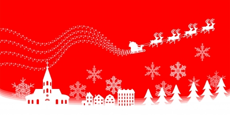 Christmas town,Red color Santa Claus carrying a gift by reindeer sleigh  Stock Vector - 15965582