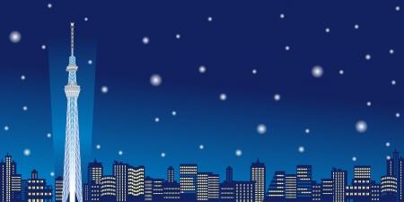 night scene: Tokyo Sky Tree,snow,winter,Horizontal