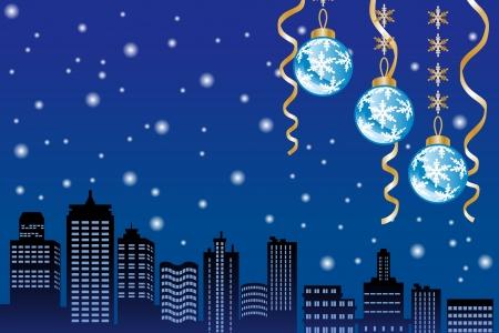 クリスマスの夜の雪の街  イラスト・ベクター素材