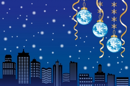 Christmas night snowing city Vector