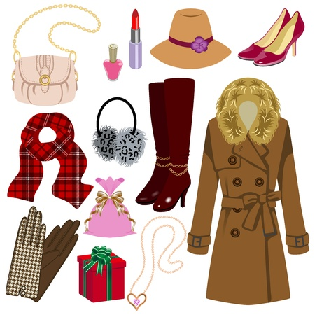 Feminine fashion item,Winter and Autumn Season Vector